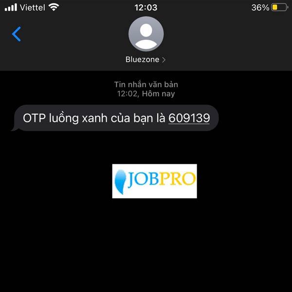 Mã OTP gửi về tin nhắn điện thoại