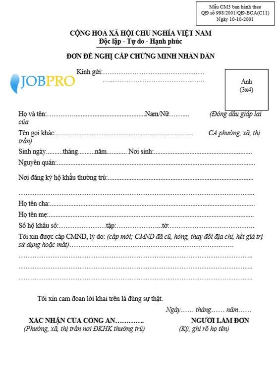 Mẫu đơn đề nghị cấp CMND