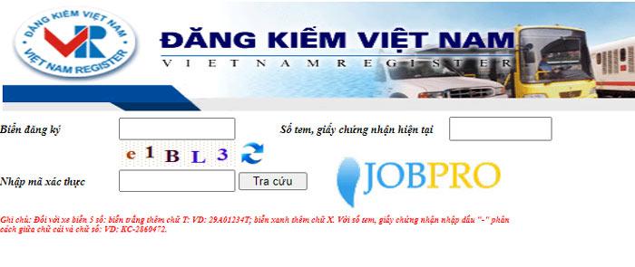 Truy cập vào trang web của cục đăng kiểm Việt Nam