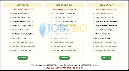 Mẫu báo giá dịch vụ thiết kế Website